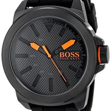 Hugo Boss Mens 1513004 Orange New York Black Silicone Watch