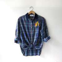 Vintage Plaid Flannel / Grunge Shirt / Back To School Flannel