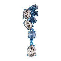 Oscar de la Renta Asymmetrical Crystal C Earrings