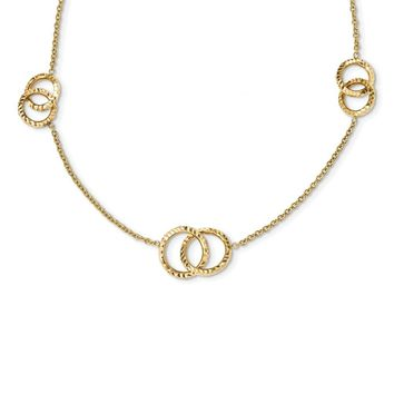 14K Yellow Gold Polished Diamond Cut Interlocking Circles with .75in Ext. Necklace 17 Inch