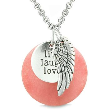 Guardian Angel Wing Live Laugh Love Inspirational Medallion Magic Amulet Pink Quartz Necklace