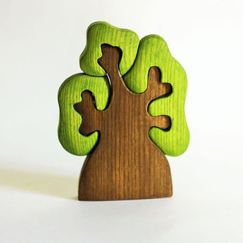 WALDORF Tree toy Wooden figurine Kids toy Montessori Woodland tree set puzzle Learning toy Handmade Eco Friendly Birthday gift Toys for kids