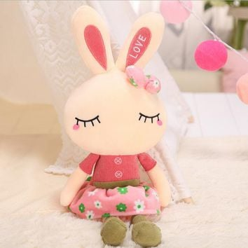 "1X 18""Cute Cartoon Bunny Baby Stuff Plush Rabbit Doll Gifts Sweet Toy for Girls Children As Birthday Gift Free Shipping"