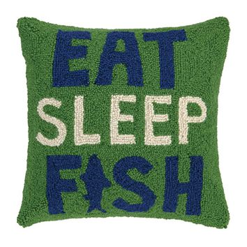 Eat Sleep Fish Pillow 16X16""