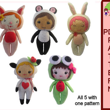 Doll Pattern PDF Download Animal Plushies