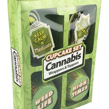Cupcake Set - Cannabis Wrappers & Toppers