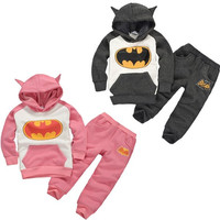 2-7Y Quality Kids Boys Girls Baby Batman Hoodie Sweatshirt Autumn Outfits Set Costume