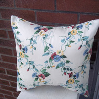 Morning Glory Pillow Cover 16 X 16 Upcycled