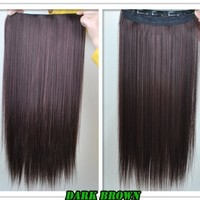 "8 Color 23"" Straight Full Head Clip in Hair Extensions Wwii101 (Dark Brown):Amazon:Beauty"