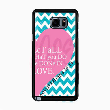 Pink Heart Chevron Bible 1 Corinthians for Samsung Galaxy Note 5 Case *01*