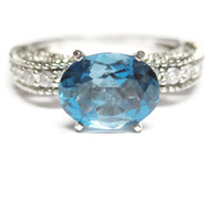Sterling Blue Topaz Engagement Ring Sz 8