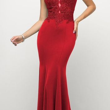 97e17ef087 Cinderella Divine 770 Red V-Neckline Lace Bodice Fit and Flare E. Enjoy the  evening in this beautiful red long formal dress ...