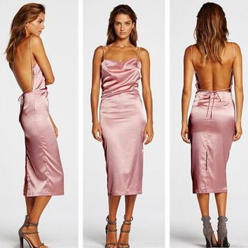 The new halter split halter solid color dress