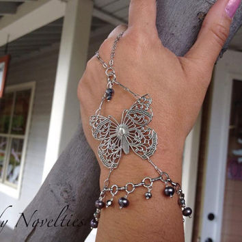 Slave Bracelet - Silver Butterfly Pearl and Crystal