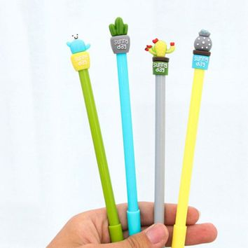 4 pcs/lot Cute Kawaii Cactus Plant Gel Pen 0.5mm Ink Marker Pen School Office Supplies for Kids Writing Stationery Supplies