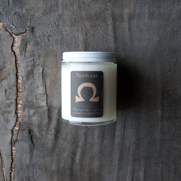 Enochian: Otherworldy Soy Candle in Glass Jar, 5 ounces, Musk, Leather and Smoke Scent, Cotton and Wood Wick Available