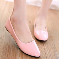 PU Candy Color Flat Ballet Shoes