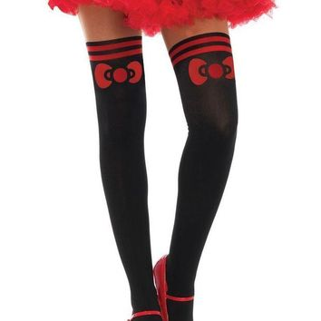 LMFI7E Hello Kitty bow spandex opaque with sheer thigh accent in BLACK/RED