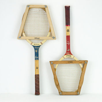 Vintage Wilson Capri Tennis Rackets with Wooden Covers