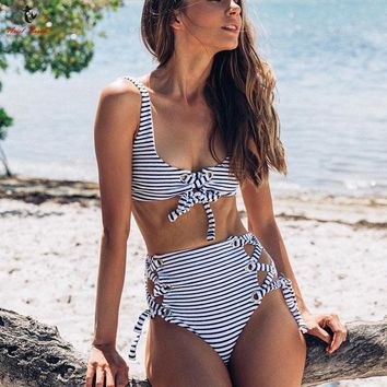 Ariel Sarah High Waist Bikini Women Bodysuit Swimsuit Sexy Swimwear Striped Bikini Set Bandage Bathing Suit Beach Wear Biquini