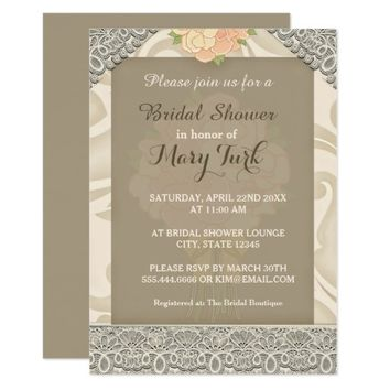Beige Lace Texture | Bridal Shower Invitation