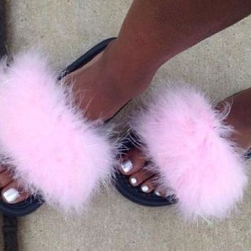 LMFHF3 Nike Candy Pink faux fur slides