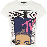 River Island Girls white MTV print cropped t-shirt