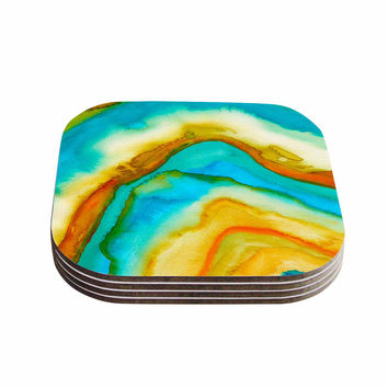 "Viviana Gonzalez ""Agate Inspired Watercolor 10"" Coral Yellow Watercolor Coasters (Set of 4)"