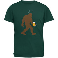St. Patricks Day - Drunk Sasquatch Forest Green Adult T-Shirt