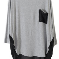 ROMWE | Loose Double Pockets Light-grey Pullover, The Latest Street Fashion