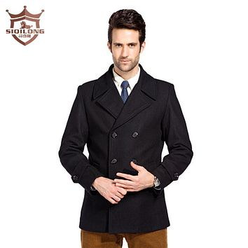 SIQILONG Size M-3XL High Quality Men Winter Autumn Casual Peacoat Black Woolen Coats and Jackets Wool Blends Casaco Masculino