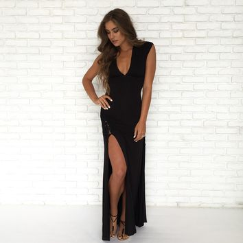 Black Crochet Maxi Dress by SKY