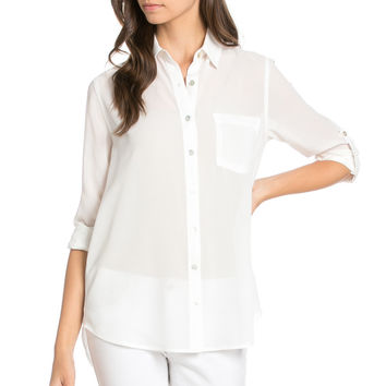 Roll Up Sleeve Button Down White Chiffon Blouse