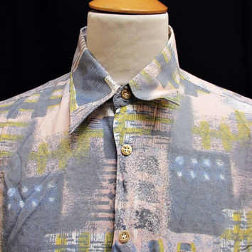 Vintage 80s Shirt Crazy Pattern Hipster Party Fashion Print XL