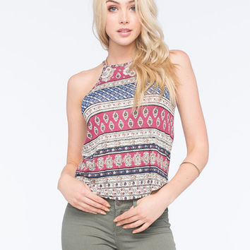 Full Tilt Hi Neck Linear Paisley Womens Tank Multi  In Sizes