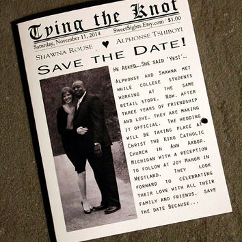 set of 20 Newspaper Tying Knot Save Date, Front Page Save the Date Card, Wedding Save the Date, Knot Cards, Rustic Save the Date-Set of 20
