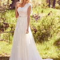 Newest Elegant Lace Appliques Tulle Modest Wedding Dresses With Cap Sleeves V Neck Buttons Back Beaded Belt boho Wedding Gowns