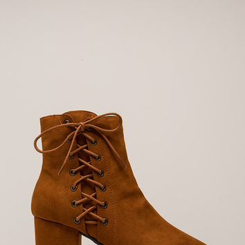 Side Hustle Lace-Up Block Heel Booties