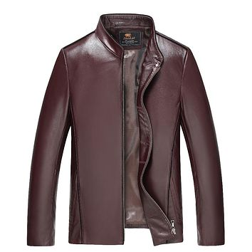 100% Brand Genuine Leather Jacket Male Plus Size 4XL Man Leather Jacket Jaquetas Masculinas Inverno Couro Motorcycle Coat