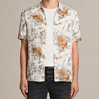 ALLSAINTS UK: Mens Sumatra Short Sleeve Shirt (ECRU WHITE)