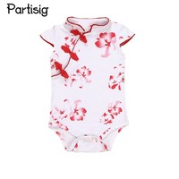 2017 Baby Girls Summer Clothes  Cotton Flower Print Baby Girls Rompers Chinese Traditional Clothing For Baby Girls