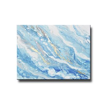 ORIGINAL Art Light Blue Aqua White Abstract Painting Gold Leaf Marbled Coastal Wall Art 48x36""""