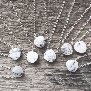"#Mostly White - Random -  Dendritic Opal 18"" Sterling Chain - Flash Sale Pricing"