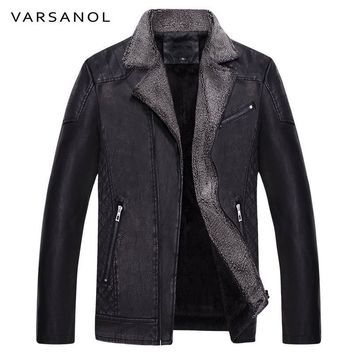 Men's Leather Jackets Thick Warm Long Sleeve Winter Bomber Jacket Turn-down Collar Long-sleeved Coat Men Clothes