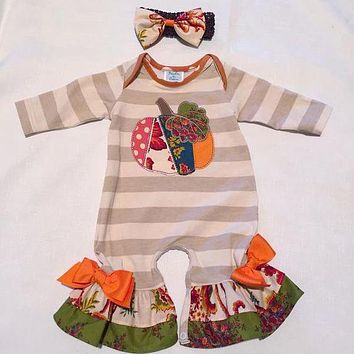 Halloween Baby Bodysuit Long Sleeve Cotton Jumpsuit Fall Infant Striped Embroidery Ruffle Big Bow Clothes With Headband R008