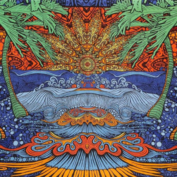 Psychedelic Epic Surf Wave trippy Wall Hanging Tapestry Hippie Art 60 x 90 handmade