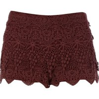 dark red crochet shorts - casual shorts - shorts - women - River Island