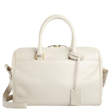 Saint Laurent Classic Duffle 6 Hour Bag in White Leather 314704