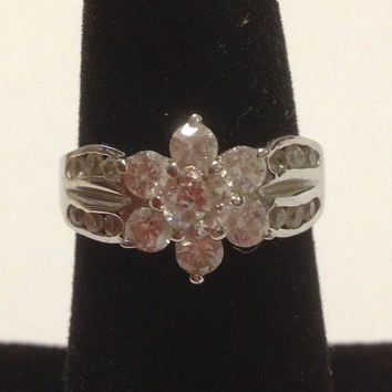 CZ Flower RING Size 7 Sterling Silver 925 Cubic Zirconia Sparkly Vintage Cocktail Wedding Diamonique Engagement Bridal Promise Prom Floral