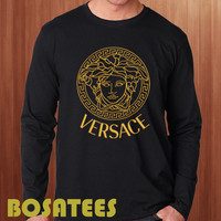 versace logo gold long sleeve T-shirt Printed Black and White Color Unisex Size  (BS-66)